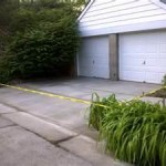 Paving repair in the entrance of a double garage