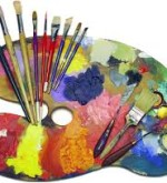 A palette with many brushes and paint colors