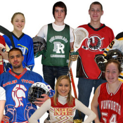 Group of young people showing sport equipment